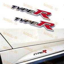 2PC For 3D Aluminum TYPE-R Car Front/Rear Badge Fender Body Emblem Decal Sticker