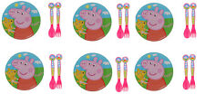 "Set of 6 Peppa Pig Melamine Plates 8"" Dia (20cm) and 6 Sets of Spoons and Forks"