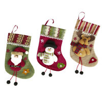 3 Styles Christmas Sock Ornament Santa Claus Snowman Gift Bag Xmas Tree Decor
