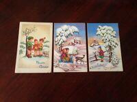 Cartolina Augurale Buon Anno illustrata lotto di 3 cartoline