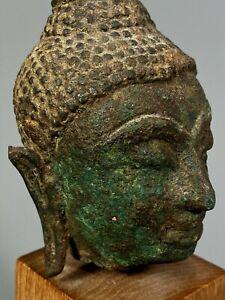 Fine Thai Thailand Sukhothai cast Bronze Head of the Buddha ca. 13th century