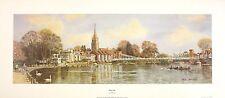 """Robin Davidson """"Marlow"""" rivière Thames AVIRON nouveau imprimer! taille:23 cm x 68cm rare"""