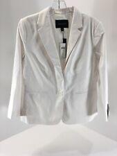 Banana Republic Womens Stretch Linen Blend Two Button Blazer White Size 8 NWT=
