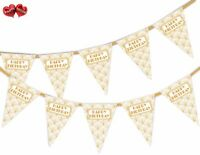 Happy Birthday Gold Print Art Deco Bunting Banner 15 flags by PARTY DECOR
