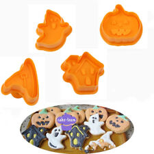 4PCS/Set Halloween Fondant Cake Pumpkin Cookies Plunger Cutter Mold Decor Mould