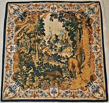 "VINTAGE AUTHENTIC RENAISSANCE ART DEER IN FOREST BLUE SILK 34"" SQUARE SCARF"