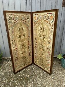 Vintage 1920s Hand Embroidered Folding Fire Screen