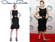 "R'13 CHIC CLASSY ELEGANT aMUST Oscar De La Rent peplum ""little"" black wool Dress"