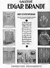 PARIS GALERIE EDGAR BRANDT ART DECO DAUM LALIQUE RUHLMANN  PUBLICITE 1926