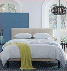 Sferra Andello Full Queen duvet Cover Linen Blend Geometric Aquamarine Blue NIP