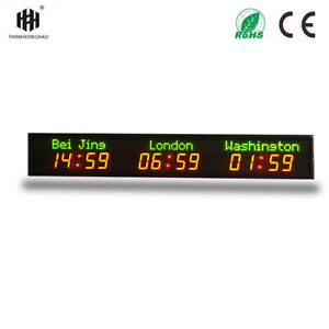 3 time zone wall mounted city time high definition LED digital world clock