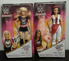 "Lot 2 WWE Superstars Brie Bella & Alexa Bliss Superstar Fashions 12"" Doll Mattel"
