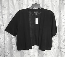 BLACK LINEN BLEND OPEN FRONT KNIT SHRUG CARDIGAN JACKET SWEATER TOP~26/28~3X~NEW