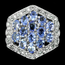 REAL UNHEAT BLUE VIOLET TANZANITE & W.TOPAZ STERLING 925 SILVER CLUSTER  RING 7