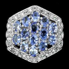GENUINE BLUE VIOLET TANZANITE, WHITE TOPAZ STERLING 925 SILVER CLUSTER  RING 7
