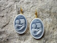 MOTHER AND CHILD CAMEO GOLD FRENCH EARRINGS - WONDERFUL QUALITY - MOTHER'S DAY