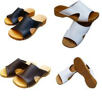 Womens Hand Made Clogs Ladies Wooden Sole Sandals Leather Upper Size 3 4 5 6 7 8