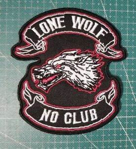 PATCH MOTORCYCLE MC NO CLUB WOLF BACK EMBROIDERED PUNK BIKER PATCHES IRON ON JAC