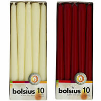 Pack 10 Bolsius Ivory or Wine Red Tapered Taper Dinner Candles 7.5 Hours 24x 2cm