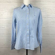 United Colors of Benetton Women's Button Front Shirt Large Striped Blue White