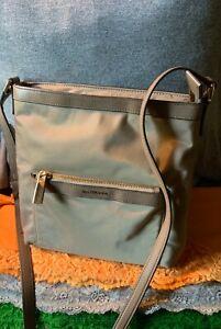 Michael Kors Morgan Taupe Nylon Leather Trim Zip Messenger Purse Crossbody