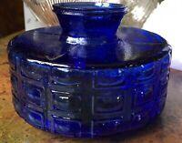 """Vintage Cobalt Blue Patterned Glass Slip Shade 5"""" Fitter"""