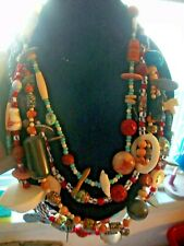 Necklace African Beads Bone Turquoise Vintage Unique Ooak Multiple Strand Ethnic