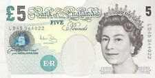 5 Pounds Sterling Crisp Uncirculated Bank of England Paper Banknote Withdrawn