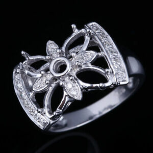 10K White Gold Diamonds Engagement Semi Mount Ring Round Singe Cut & Marquis
