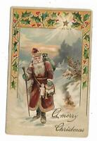 1909 Christmas Postcard Santa Claus Long Robe Bag Toys Doll Walking Stick