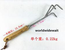Garden Tool Stainless Steel Three Teeth Grass Rake Fit Loosen Soil & Weeding