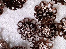 Vtg 25 COPPER METAL FILIGREE LACEY LARGE CAP BEADS #121317v