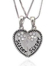 Sister Sister Best Friend Forever BFF Heart Flower Pendant Necklace Gift Box