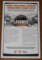 2007 Jeff Francis + Darwin Walker signed Tennessee Vols Football Legends Poster