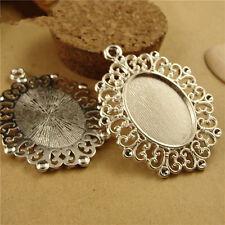 Silver 12pcs Pendant Tray, Bezel Setting, 25x18mm Cabochon Tray jewelry finding