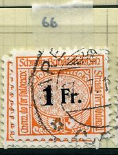 SWITZERLAND;  1913-30s early RAILWAY PARCEL stamp fine used  1Fr. Type  66