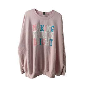 Christmas Sweatshirt Womens Size 3XL Pink Making Spirits Bright Cute Pullover