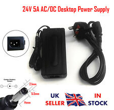 24V 5A AC/DC Desktop Power Supply Adapter Charger PSU 5Amp Transformer - UK Plug
