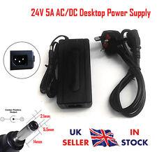 24V 5A AC / DC Desktop Power Supply Adattatore Caricatore Psu 5Amp Transformer-UK Plug