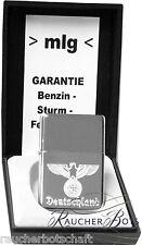 Reichsadler Lorbeerkranz EK Sturmfeuerzeug  ZiPPO chromgebürstet +1 ZiPPO Benzin
