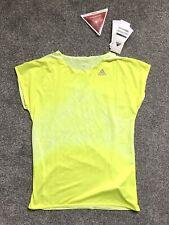 Adidas Womens slim neon yellow tee tshirt NEW small S BNWT thin adizero froyel