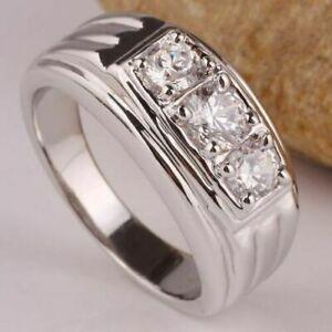 Men's 3-stone 14K White Gold Finish Wedding Band Ring Round Cut 1.00 Ct Diamond