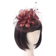 UK Elegent Women Fascinator Hat Feather Hair Clip Cocktail Ball Party  Headpiece 9d1faec118e