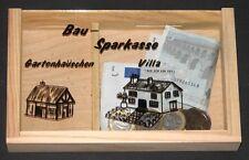 Spardose, Bau-Sparkasse, Gartenhäuschen & Villa, unbehandeltes Holz, Glas, NEU
