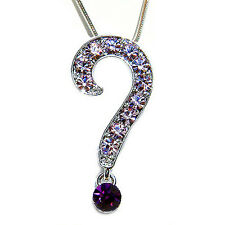 w Swarovski Crystal ~Purple QUESTION MARK~ Celebrity Style Pendant Necklace XMAS