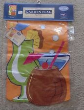 """New Creative """"It's 5:00 Somewhere"""" Garden Flag New in Sealed Package 11.5 x 18"""