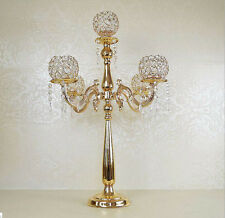 Gold 5 Arms Crystal Candelabra Floral Riser Wedding Centerpiece Stand 30 inches