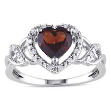 SUPERB SOLID 10K WHITE GOLD GENUINE GARNET AND DIAMOND HEART RING 7 / O U$1030