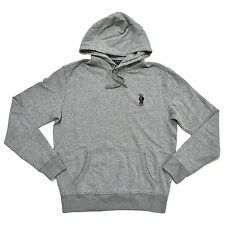 NEW Polo Ralph Lauren Bear Hoodie Mens XS Pullover Fleece Sweatshirt GREY GRAY