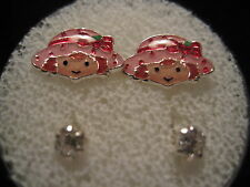 STRAWBERRY SHORTCAKE Screw Back Child Character Earring with Stones in Silver